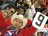 Fan of the USA holds up sign of support for Charlie Davies during a 2010 World Cup qualifying match in the CONCACAF region against Costa Rica at RFK Stadium on October 14 2009, in Washington D.C.The match ended in a 2-2 tie.