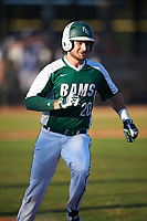 Farmingdale State Rams Nick LaSala (20) runs to first base during the second game of a doubleheader against the FDU-Florham Devils on March 15, 2017 at Lake Myrtle Park in Auburndale, Florida.  FDU-Florham defeated Farmingdale 8-4.  (Mike Janes/Four Seam Images)
