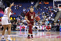 GREENSBORO, NC - MARCH 07: Makayla Dickens #10 of Boston College dribbles the ball during a game between Boston College and NC State at Greensboro Coliseum on March 07, 2020 in Greensboro, North Carolina.
