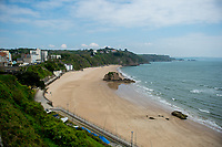 General view of an empty North Beach in Tenby, Pembrokeshire, Wales, UK