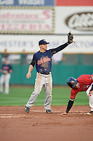 Scranton/Wilkes-Barre RailRiders shortstop Jonathan Diaz (1) shows the umpire the ball after tagging out Tommy Field (9) attempting to steal second base during the first game of a doubleheader against the Rochester Red Wings on August 23, 2017 at Frontier Field in Rochester, New York.  Rochester defeated Scranton 5-4 in a game that was originally started on August 22nd but was was postponed due to inclement weather.  (Mike Janes/Four Seam Images)