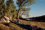 Missouri River, Kayakers camping, Upper Missouri River Breaks National Monument, Montana, Route of Lewis and Clark, USA, North America,.