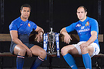 Thierry Dusautoir (France) and Sergio Parisse (Italy) at the official launch of the RBS Six Nations rugby tournament at the Hurlingham Club in London..