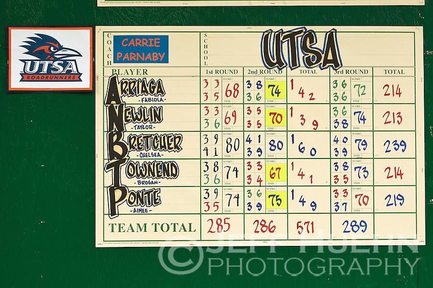 SAN ANTONIO, TX - OCTOBER 29, 2013: The UTSA Alamo Invitational Golf Tournament hosted by the University of Texas at San Antonio Roadrunners Women's Golf Team at the Briggs Ranch Golf Club. (Photo by Jeff Huehn)