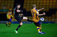 Mansfield Town's Harry Charsley under pressure from Lincoln City's Conor McGrandles<br /> <br /> Photographer Andrew Vaughan/CameraSport<br /> <br /> EFL Trophy Northern Section Group E - Mansfield Town v Lincoln City - Tuesday 6th October 2020 - Field Mill - Mansfield  <br />  <br /> World Copyright © 2020 CameraSport. All rights reserved. 43 Linden Ave. Countesthorpe. Leicester. England. LE8 5PG - Tel: +44 (0) 116 277 4147 - admin@camerasport.com - www.camerasport.com