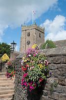 St. Bartholomew's Church with flowers, Chipping, Lancashire.