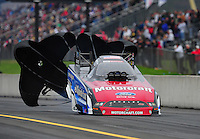 Oct. 1, 2011; Mohnton, PA, USA: NHRA funny car driver Bob Tasca III during qualifying for the Auto Plus Nationals at Maple Grove Raceway. Mandatory Credit: Mark J. Rebilas-