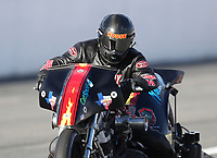 Feb 9, 2019; Pomona, CA, USA; NHRA top fuel Harley Davidson nitro motorcycle rider Rickey House during the Winternationals at Auto Club Raceway at Pomona. Mandatory Credit: Mark J. Rebilas-USA TODAY Sports