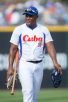 Alexander Malleta Kerr (55) of the Cuban National Team prior to the start of the game against the US Collegiate National Team at BB&T BallPark on July 4, 2015 in Charlotte, North Carolina.  The United State Collegiate National Team defeated the Cuban National Team 11-1.  (Brian Westerholt/Four Seam Images)