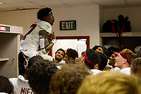 LOS ANGELES, CA - SEPTEMBER 11: Kyu Blu Kelly #17 of the Stanford Cardinal leads the C-House chant with his teammates after a game between University of Southern California and Stanford Football at Los Angeles Memorial Coliseum on September 11, 2021 in Los Angeles, California.