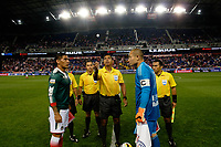 Harrison, NJ - Tuesday April 10, 2018: Pre-game, coin toss, Carlos Salcido, Walter Lopez, Luis Robles prior to leg two of a  CONCACAF Champions League semi-final match between the New York Red Bulls and C. D. Guadalajara at Red Bull Arena. C. D. Guadalajara defeated the New York Red Bulls 0-0 (1-0 on aggregate).
