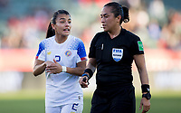 CARSON, CA - FEBRUARY 07: Gabriela Guillen #2 of Costa Rica and referee Lucila Montes have a few words with each other during a game between Canada and Costa Rica at Dignity Health Sports Park on February 07, 2020 in Carson, California.