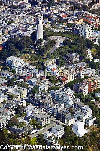 aerial photograph of Coit Tower Telegraph Hill, San Francisco, California