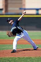 Seattle Mariners minor league pitcher Scott DeCecco #45 during an instructional league game against the Kansas City Royals at the Peoria Sports Complex on October 2, 2012 in Peoria, Arizona.  (Mike Janes/Four Seam Images)