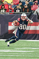 FOXBOROUGH, MA - OCTOBER 27: New England Patriots Wide Receiver Gunner Olszewski #80 returns a punt during a game between Cleveland Browns and New Enlgand Patriots at Gillettes on October 27, 2019 in Foxborough, Massachusetts.