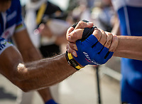 a Philippe Gilbert (BEL/Quick Step Floors) and Yves Lampaert (BEL/Quick Step Floors) post race handshake. <br /> <br /> Stage 5: Lorient > Quimper (203km)<br /> <br /> 105th Tour de France 2018<br /> ©kramon