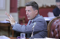 Pierre Moreau, Minister of Municipal Affairs and Land Occupancy, gestures as he speaks at the parliamentary commission on Bill 3 at the National Assembly in Quebec City, Thursday August 21, 2014.<br /> <br /> PHOTO :  Francis Vachon - Agence Quebec Presse