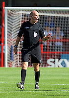 Referee Nick Tinselly during the Sky Bet League 2 match between Crawley Town and Wycombe Wanderers at Broadfield Stadium, Crawley, England on 6 August 2016. Photo by Alan  Stanford / PRiME Media Images.