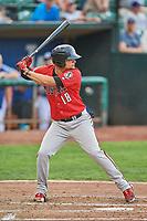 Juan Martinez (18) of the Billings Mustangs bats against the Ogden Raptors at Lindquist Field on August 17, 2018 in Ogden, Utah. Billings defeated Ogden 6-3. (Stephen Smith/Four Seam Images)