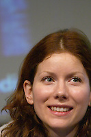 Anina, super-model and technology enthusiast, also called the first fashion blogger (moblogger - model blogger), at the Les Blog conference in Paris December 2005 on blogging, new media and internet strategy