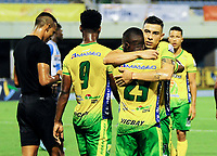 BARRANCABERMEJA - COLOMBIA, 17-02-2021: Real San Andres y Atletico Huila durante partido de la fecha 1 por el Torneo BetPlay DIMAYOR 2021 en el estadio Daniel Villa Zapata de la ciudad de Barrancabermeja. / Real San Andres and Atletico Huila during a match of the 1st for the BetPlay DIMAYOR 2021 Tournament at the Daniel Villa Zapata stadium in Barrancabermeja city. Photo: VizzorImage / Jose D Martinez / Cont.