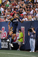 Alecko Eskandarian (11) of the Los Angeles Galaxy celebrates scoring a goal. The Los Angeles Galaxy defeated the New York Red Bulls 3-1 during a Major League Soccer match at Giants Stadium in East Rutherford, NJ, on July 16, 2009.