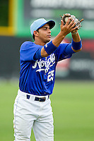 Burlington Royals shortstop Ramon Torres (25) catches a pop fly in shallow left field against the Greeneville Astros at Burlington Athletic Park on July 1, 2013 in Burlington, North Carolina.  The Astros defeated the Royals 8-1 in Game Two of a doubleheader.  (Brian Westerholt/Four Seam Images)