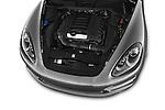 Car Stock 2014 Porsche Cayenne Platinum Edition 5 Door SUV Engine high angle detail view