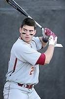 Right fielder Chris Shaw (24) of the Boston College Eagles swings a bat before a game against the Wofford College Terriers on Friday, February 13, 2015, at Russell C. King Field in Spartanburg, South Carolina. Wofford won, 8-4. (Tom Priddy/Four Seam Images)