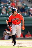 Catcher Christopher Burgess (24) of the Aberdeen IronBirds in a game against the Greenville Drive on Sunday, July 11, 2021, at Fluor Field at the West End in Greenville, South Carolina. (Tom Priddy/Four Seam Images)