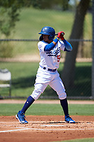 AZL Dodgers Lasorda Edwin Mateo (54) at bat during an Arizona League game against the AZL Royals on July 4, 2019 at Camelback Ranch in Glendale, Arizona. The AZL Royals defeated the AZL Dodgers Lasorda 4-1. (Zachary Lucy/Four Seam Images)