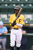 FCL Pirates Gold Deivis Nadal (3) bats during a game against the FCL Rays on July 26, 2021 at LECOM Park in Bradenton, Florida. (Mike Janes/Four Seam Images)