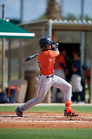 GCL Astros Jose Alvarez (6) bats during a Gulf Coast League game against the GCL Marlins on August 8, 2019 at the Roger Dean Chevrolet Stadium Complex in Jupiter, Florida.  GCL Astros defeated GCL Marlins 4-2.  (Mike Janes/Four Seam Images)