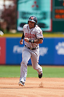 Richmond Flying Squirrels outfielder Javier Herrera (14) running the bases during a game against the Erie Seawolves on May 20, 2015 at Jerry Uht Park in Erie, Pennsylvania.  Erie defeated Richmond 5-2.  (Mike Janes/Four Seam Images)