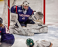 9 February 2018: University of Connecticut Huskie Goaltender Annie Belanger, a Senior from Sherbrooke, Quebec, gives up the lone goal of the game in the third period against the University of Vermont Catamounts at Gutterson Fieldhouse in Burlington, Vermont. The Lady Cats defeated the Huskies 1-0 the first game of their weekend Hockey East series. The teams played to a 0-0 tie in the second game. Mandatory Credit: Ed Wolfstein Photo *** RAW (NEF) Image File Available ***