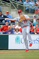 St. Louis Cardinals third baseman David Freese #23 throws to first during a Spring Training game against the Houston Astros at Osceola County Stadium on March 1, 2013 in Kissimmee, Florida.  The game ended in a tie at 8-8.  (Mike Janes/Four Seam Images)