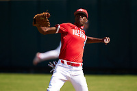 Outfielder Tyree Reed (7) throws the ball in during the Baseball Factory All-Star Classic at Dr. Pepper Ballpark on October 4, 2020 in Frisco, Texas.  Tyree Reed (7), a resident of Vallejo, California, attends American Canyon High School.  (Ken Murphy/Four Seam Images)