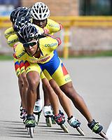 BOGOTA - COLOMBIA - 27 - 06 - 2017: Luz Karime Garzon, Daniela Mendoza, Gabriela Rueda, Daniela Bermudez y Johana Viveros, patinadoras de la Selección Colombia de Carreras Manzana Postobon, durante entreno en el Patinodromo El Salitre de la Ciudad de Bogota. La selección Colombia de Patinaje de Carreras, entrena en la capital de la república, con miras a los eventos internacionales del año, Los World Games en Polonia en el mes de julio; Los Roller Games en China, en el mes de septiembre y los Juegos Bolivarianos en Colombia, en el mes de noviembre. /  Luz Karime Garzon, Daniela Mendoza, Gabriela Rueda, Daniela Bermudez and Johana Viveros, skaters of the Colombia team of Skating Races Manzana Postobon, during training in the Patinodrome El Salitre of the City of Bogota. The Colombia Team of Skating Races, trains in the capital of the republic, with a view to the international events of the year, The World Games in Poland in the month of July; The Roller Games in China, in September and the Bolivarian Games in Colombia, in November. / Photos: VizzorImage / Luis Ramirez / Staff.