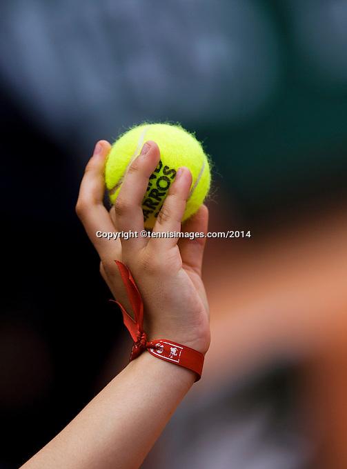 France, Paris, 28.05.2014. Tennis, French Open, Roland Garros, Tennisball<br /> Photo:Tennisimages/Henk Koster