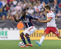Foxborough, Massachusetts - July 5, 2017: In a Major League Soccer (MLS) match, New York Red Bulls (white/red) defeated New England Revolution (blue/white), 3-2, at Gillette Stadium.