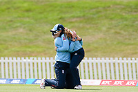 23rd February 2021, Christchurch, New Zealand;  Tammy Beaumont of England celebrates Sarah Glenn  catching out Sophie Devine of New Zealand off the bowling of Nat Sciver of England during the 1st ODI Cricket match, New Zealand versus England, Hagley Oval, Christchurch, New Zealand