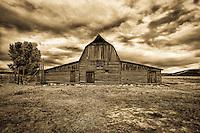Mormon Row Barn (sepia) - Wyoming - Grand Teton NP