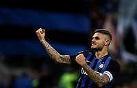 Calcio, Serie A: Inter Milano - AC Milan , Giuseppe Meazza stadium, .October 21, 2018.<br /> Inter's captain Mauro Icardi celebrates after winning 1-0  the Italian Serie A football match between Inter and Milan at Giuseppe Meazza (San Siro) stadium, October 21, 2018.<br /> UPDATE IMAGES PRESS/Isabella Bonotto