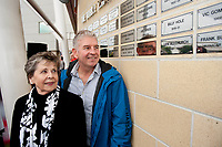 Saturday 19 October 2013<br /> Pictured:Family of the Late Len  Allchurch <br /> Re: More names of players are unveiled at the Robbie James Memorial outside the Liberty Stadium, Swansea