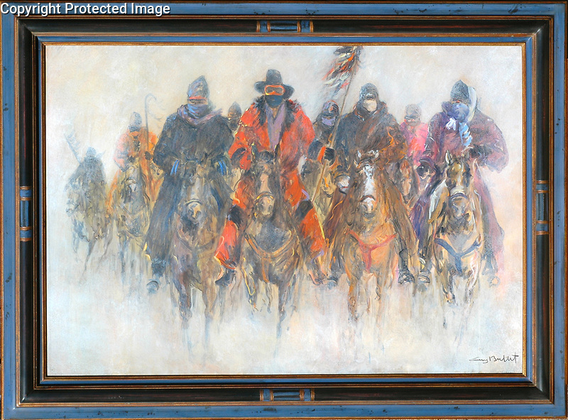 Meeting at Wounded Knee<br /> 35x50 Acrylic on Canvas<br /> 40x55 Custom French DELF Frame<br /> <br /> $32,000<br /> <br /> Stunning piece for bigger impact!