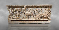 Roman relief sculpted sarcophagus of Achilles from Attica. This side shows scenes from the life of Achilles and bears characteristics of the Late Antonines Period of the Roman Imperial Period between 170-190 AD. Adana Archaeology Museum, Turkey