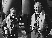 BNPS.co.uk (01202) 558833<br /> Pic: MarlowsAuctioneers/BNPS<br /> <br /> Pictured: Flight Lieutenant Maxwell Sparks (left) with his Navigator.<br /> <br /> The medals of a hero of the legendary Operation Jericho raid who dive-bombed a Gestapo prison at just 10ft have sold for over £15,000.<br /> <br /> Flight Lieutenant Maxwell Sparks pulled off the daring manoeuvre during the daylight attack on the heavily-defended Amiens Prison in northern France in February 1944.<br /> <br /> Positioned third in the attack's first wave, he bombarded the German guards' quarters at 'tree-top height' then ascended just in time to miss the prison's roof.