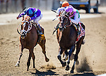 June 07, 2014: Close Hatches with Joel Rosario (middle) wins the Ogden Phipps Stakes defeating Princess of Sylmar (left) on Belmont Stakes day at Belmont Park in Elmont New York. Alex Evers/ESW/CSM