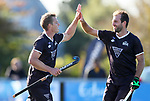 Steve Edwards (L) and Nic Woods of North celebrate a goal during the Men's North v South hockey match, St Pauls Collegiate, Hamilton, New Zealand. Saturday 17 April 2021 Photo: Simon Watts/www.bwmedia.co.nz