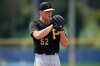 Pittsburgh Pirates relief pitcher Hunter Stratton (52) looks in for the sign during a Florida Instructional League game against the Toronto Blue Jays on September 20, 2018 at the Englebert Complex in Dunedin, Florida.  (Mike Janes/Four Seam Images)